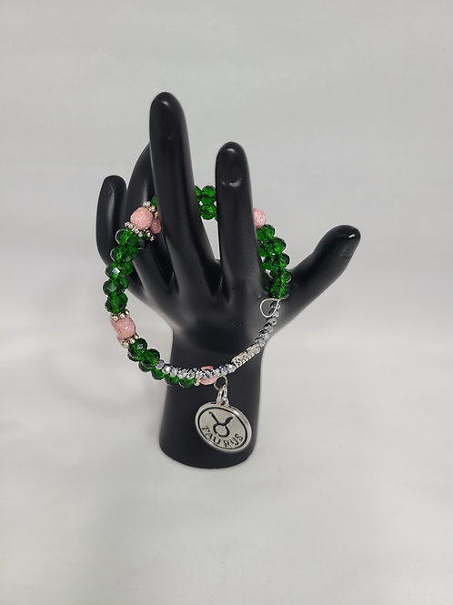 Taurus Charm Pink and Green Bracelet