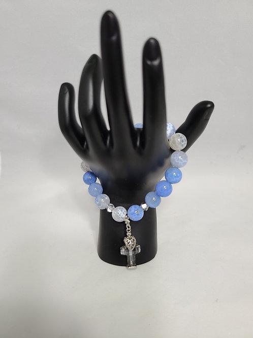 Blue Cross Charm Bracelet
