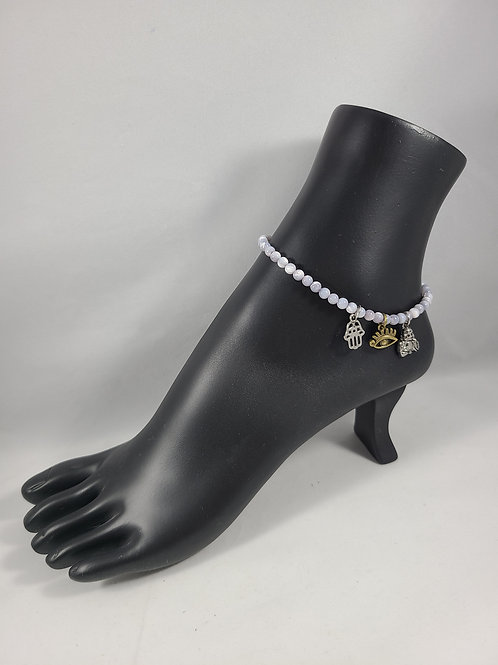 Gray Pearl Buddha Anklet
