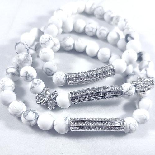 Silver Bar Charm Beaded Bracelet