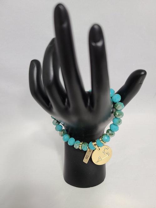 Aqua Zodiac Charm Bracelet