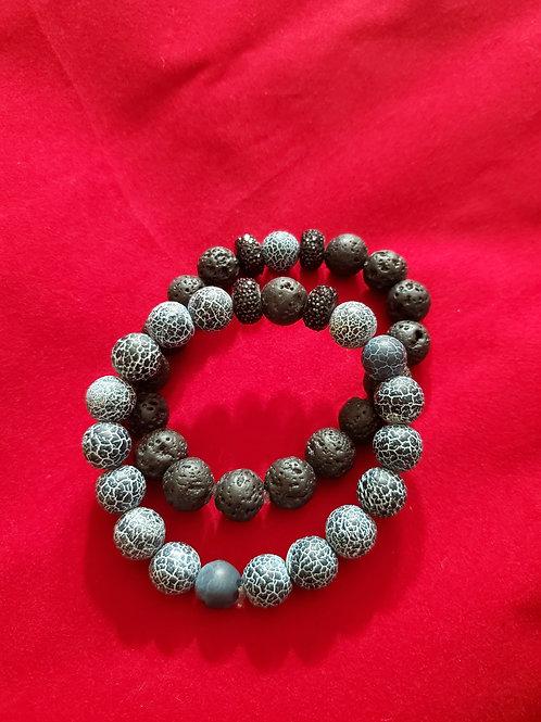 Lava Beads Bracelet Set
