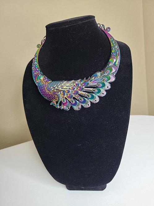 Lazer Multicolor Peacock Necklace