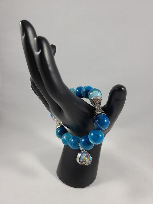 Aqua Druzy Stone Charm Beaded Bracelet