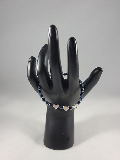 Silver Heart Blue Charm Bracelet