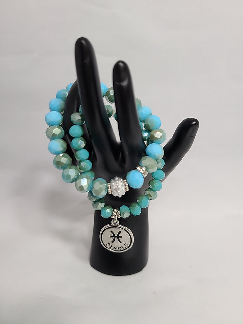 Aqua Zodiac Charm Bracelet Set