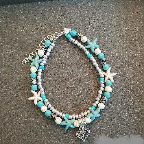 Heart Pendant Beaded Anklet