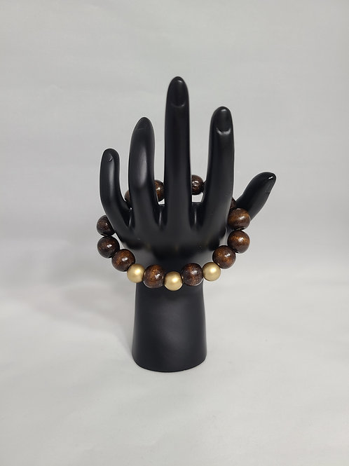 Brown and Gold Large Beaded Bracelet
