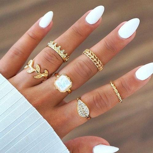 Boho Leaf Ring Set