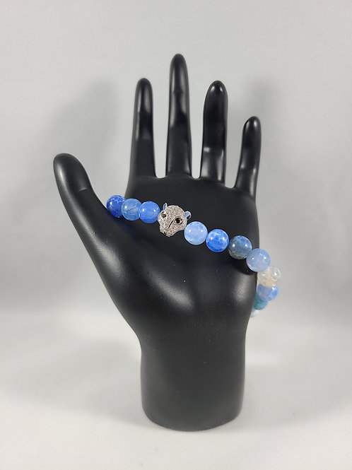 Silver Panther Blue Pearl Beaded Bracelet