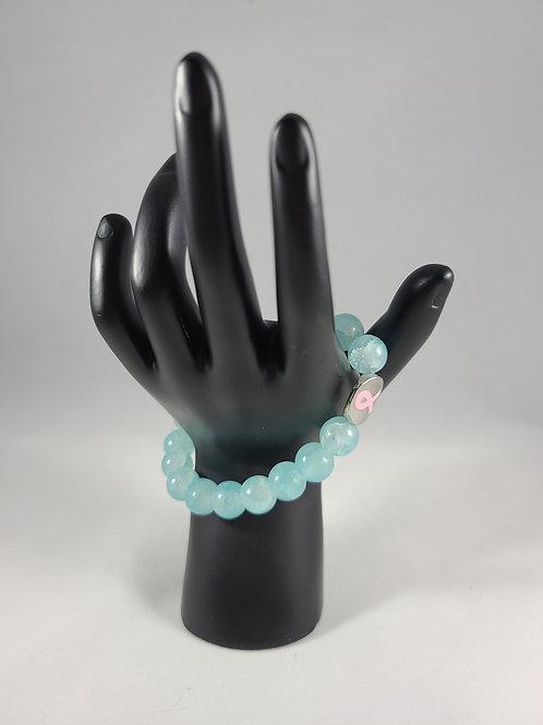 Blue Breast Cancer Awareness Charm Bracelet