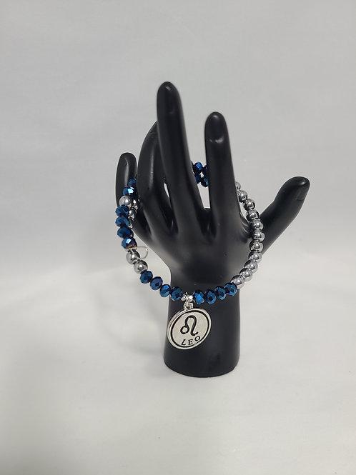 Silver and Blue Leo Charm Bracelet