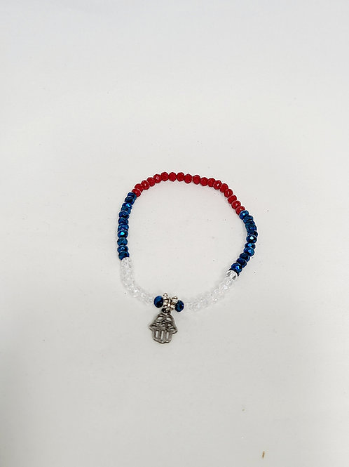 Red, White and Blue Buddha Anklet
