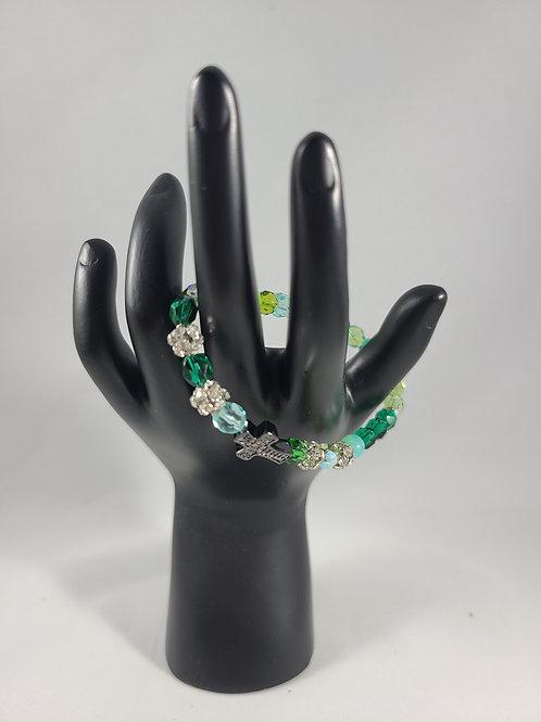 Green Who Needs Luck Beaded Bracelet