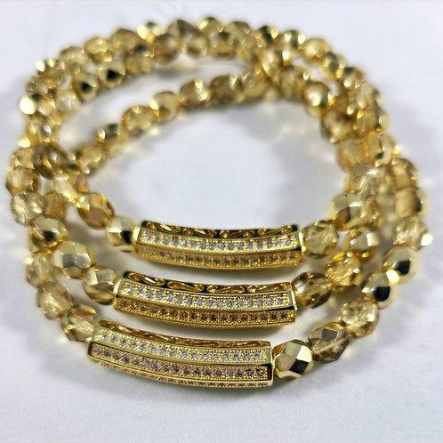 Gold Bar Charm Bracelet