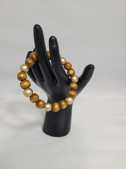 Brown and Gold Wooden Beaded Bracelet