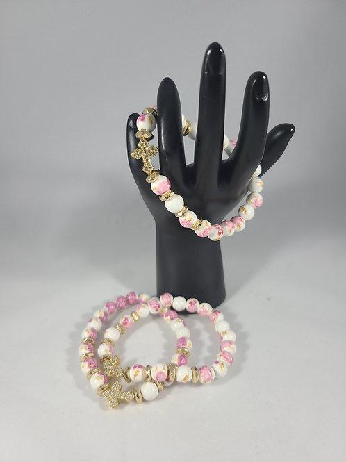 White and Pink Flower Cross Bracelet
