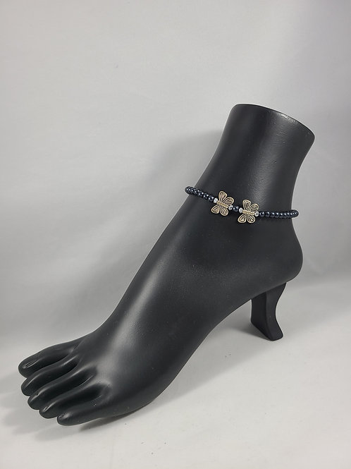 Blue Beaded Butterfly Anklet