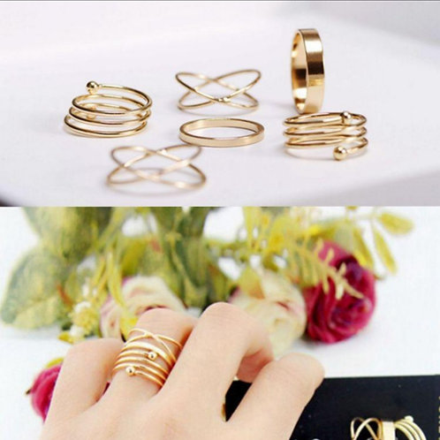 6 piece Gold Ring Set