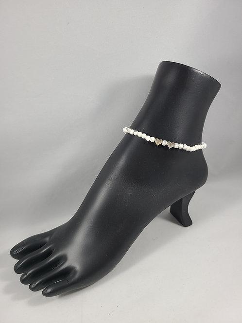 White Bead Heart Charmed Anklet