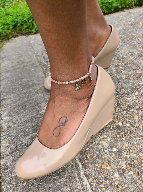 Tan Pearl Buddha Anklet