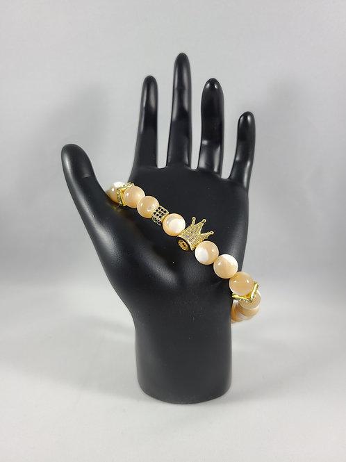 Gold Crown Tan Beaded Bracelet