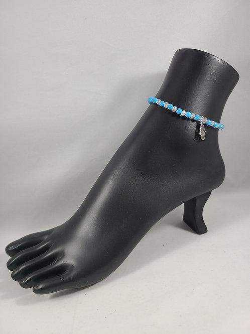Light Blue and White Beaded Anklet