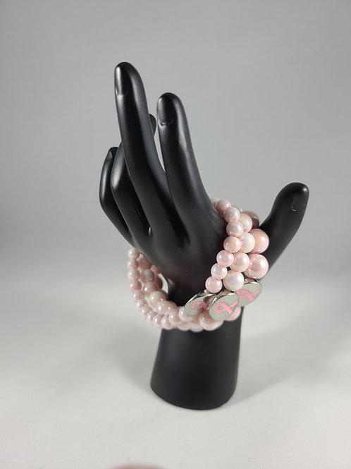 Pink Breast Cancer Awareness Charm Bracelet