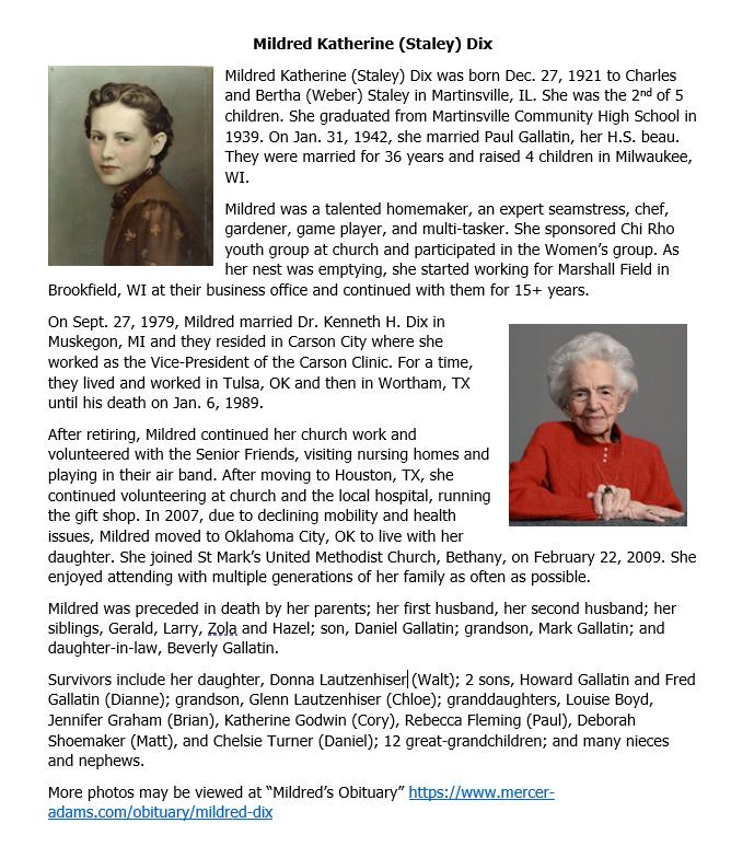 Mildred Katherine (Staley) Dix memorial.