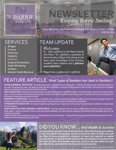 Barrie Dental Arts Newsletter