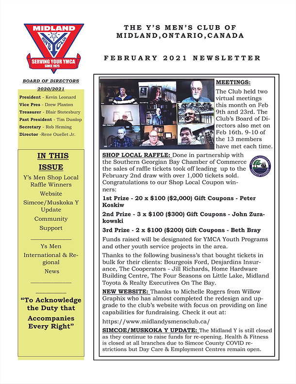 The Midland Y's Men Newsletter Feb 2021