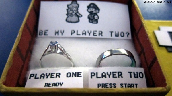 Geeky Mario Wedding proposal