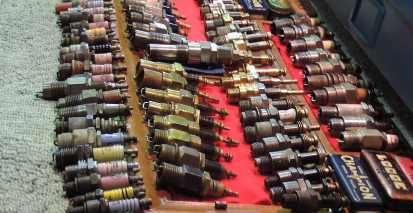A small part of a very significant spark plug collection