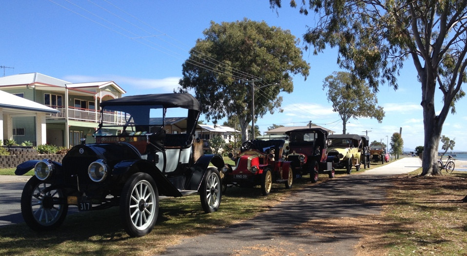 Little, Renault, Talbot, Napier et al at Toorbul on the shores of the just-visible Pumicestone Passage