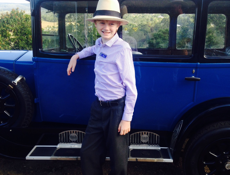 Oscar Neilson correctly attired for the Fiat 503B
