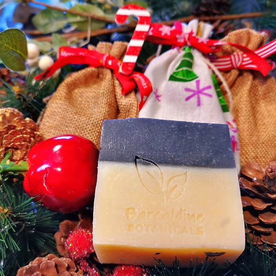 Christmas Activated Charcoal with Cocoa and Shea Butter Duo Soap