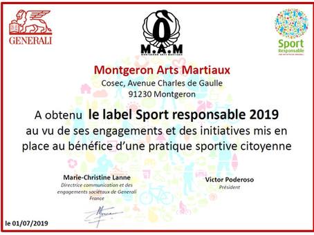M.A.M. : Le Montgeron Arts Martiaux reçoit le Label SPORT RESPONSABLE 2019 !!