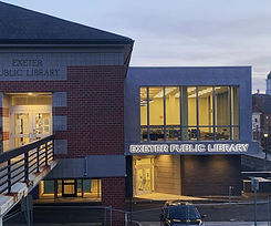 Exeter Public Library, Exeter, New Hampshire at dusk
