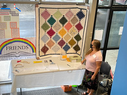 Thanks to Friends of the Library! Raffling off a beautiful quilt made by Library staff mem