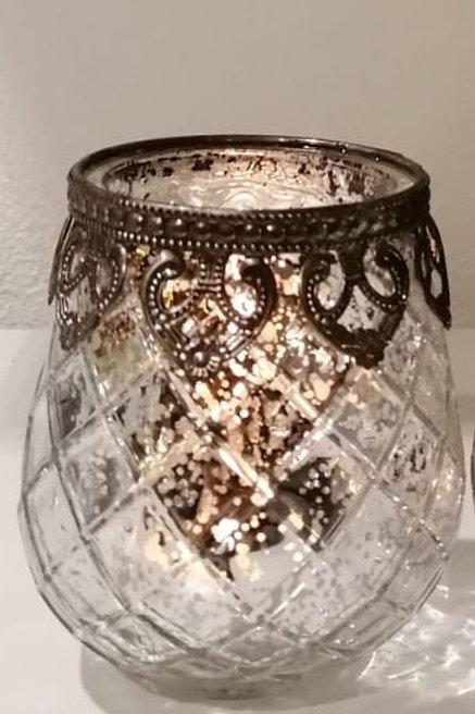 Windlicht aus Glas/ Silber Antik mit Metallrand