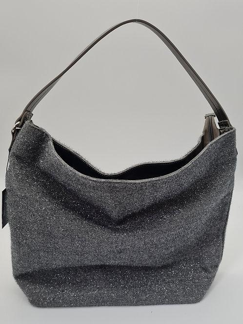 Handtasche grau mit Glitzer