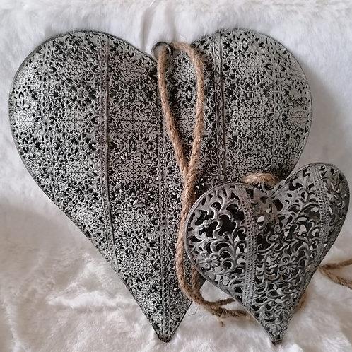 Herz Hänger grau