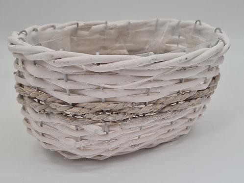Weiden Korb weiß  oval zum bepflanzen