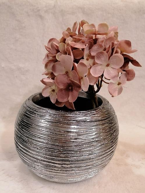 Vase rund silber geriffelt