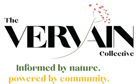 """Vervain logo and slogan, which is """"informed by nature, powered by community."""""""