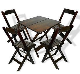 Kit Mesa e Cadeira de Madeira Dobrável