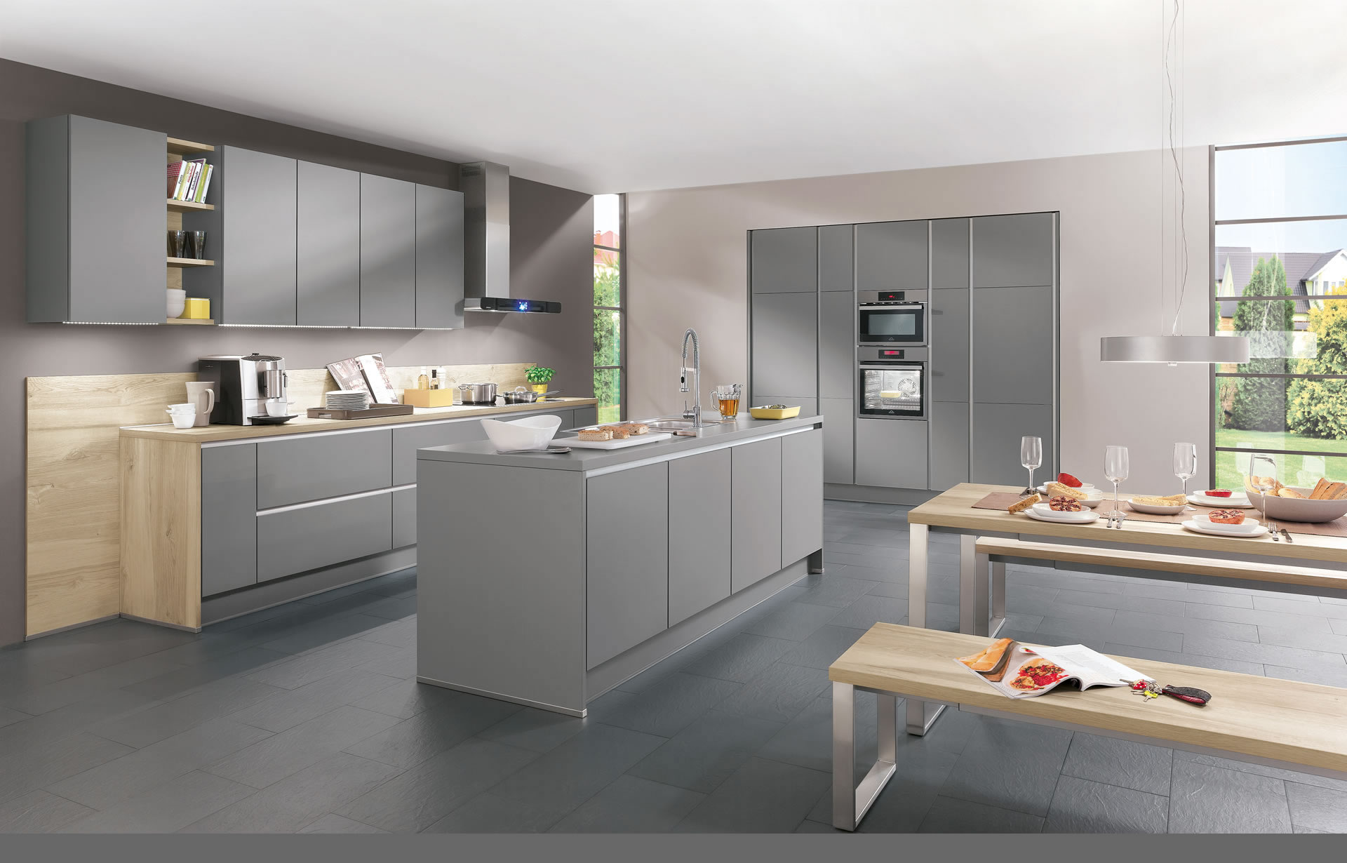 Folkstone Grey & Light Cherry Gloss Kitchen