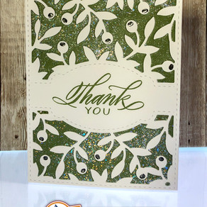 Olive Branch Thank You Card with Easy Calligraphy Sentiment