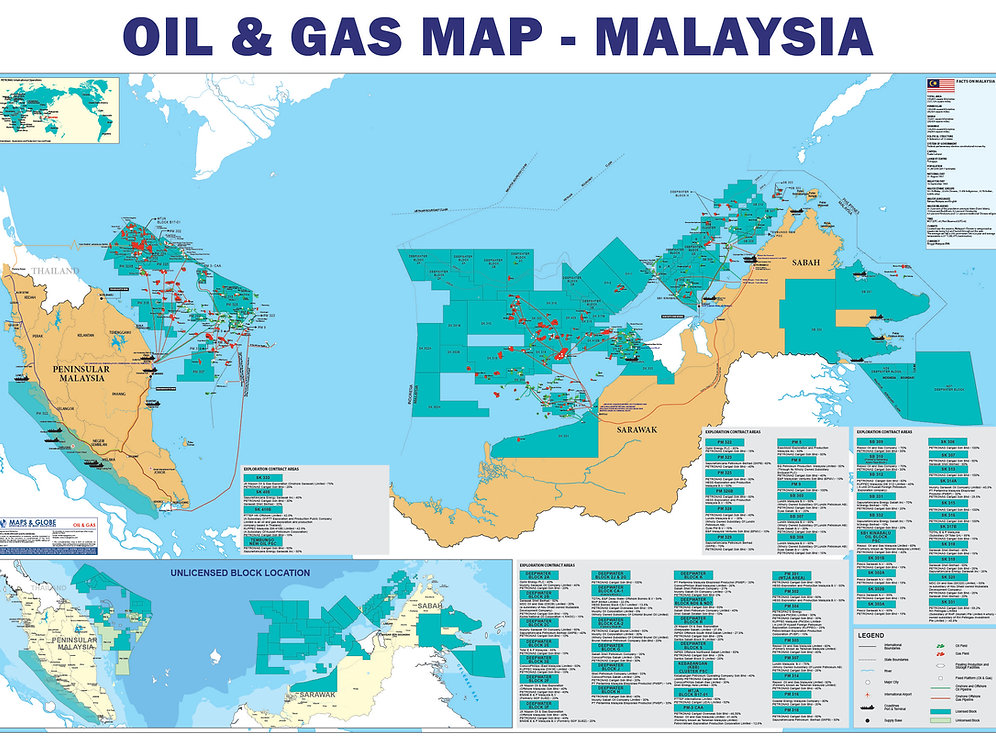 Oil and Gas Map - Malaysia   mapsglobespecialist