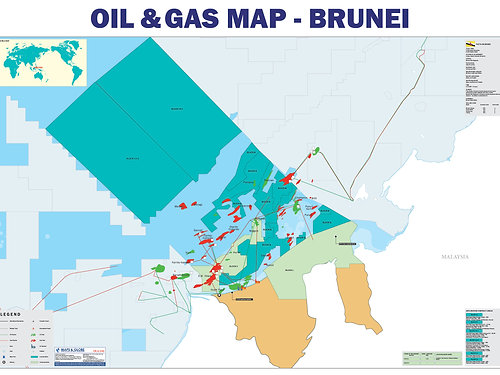 Maps Globe Specialist Oil and Gas Map Brunei